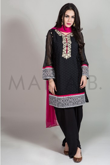 Maria B Buy Party Wear Tilla Embroidered Shirt 3 Piece Black Suit Usa