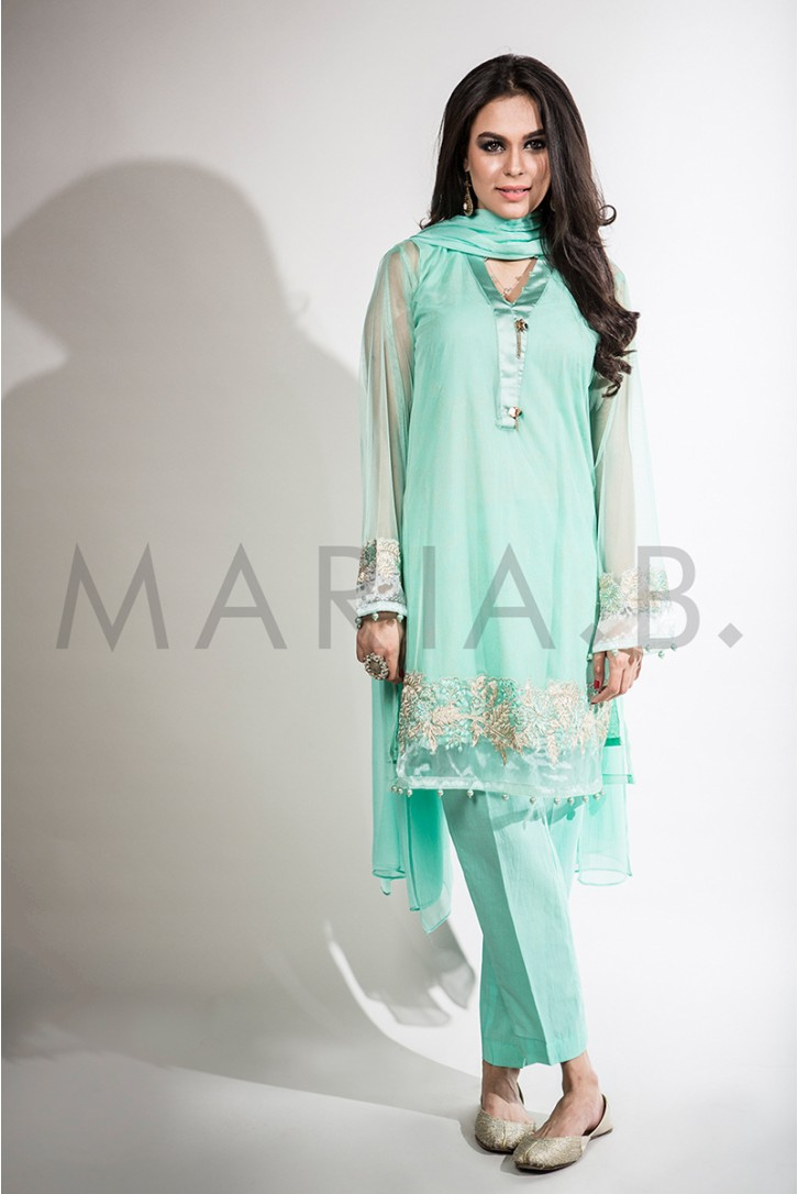 a53fd9a44ac9a Maria B 4 PCS Party Wear Ferizi Pakistani Embroidered Dress USA