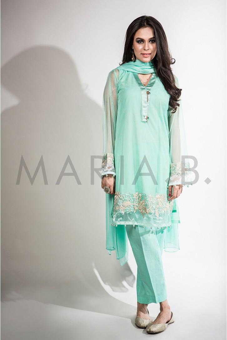 Maria B 4 PCS Party Wear Ferizi Pakistani Embroidered Dress USA